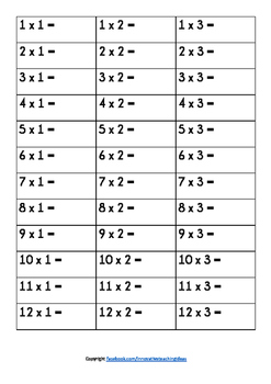 Times Tables Assessment Worksheet