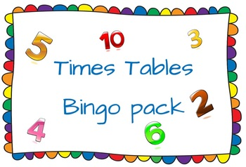 Times Tables Bingo pack