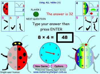 Times Tables - Bug Multiply Game for Interactive Whiteboard, Mac or P.C.