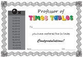 Times Tables Certificates