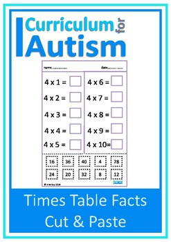 Times Tables Facts Cut Paste Autism Special Education
