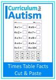 Multiplication Facts Cut Paste Autism Fine Motor