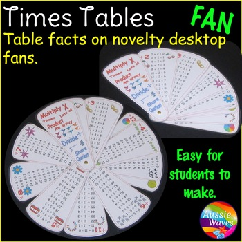 Times Tables Facts Multiplication Division. On a Memory FAN! A novelty resource.