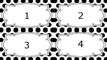 Times Tables Flash Cards Answers Black and White Spotty