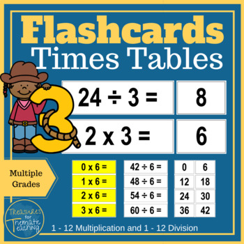 Times Tables Flashcards Multiplication And Division Tpt