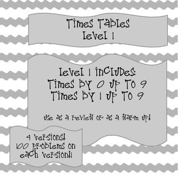 Times Tables! Level 1 - Multiply with 0 and 1 up to 9!