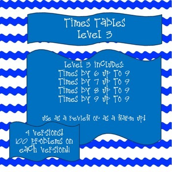 Times Tables! Level 3 - Multiply with 6, 7, 8, and 9 up to 9!
