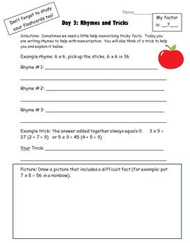 Times Tables Memorization Homework Packet