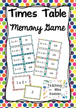 Times Tables Memory Game #luckydeals