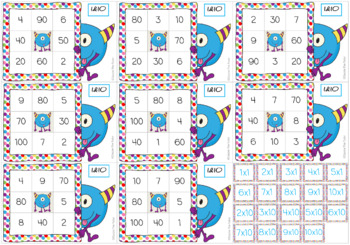 Times Tables Monster Multiplication Bingo: 1 & 10 x Forwards