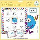 Times Tables Monster Multiplication Bingo: 1 & 10 x Forwards
