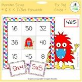 Times Tables Monster Multiplication Bingo: 4 & 5 x Forwards