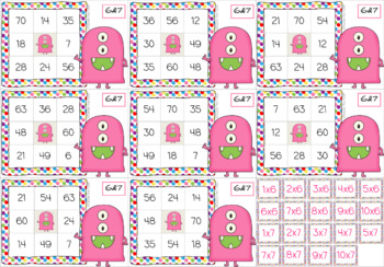 Times Tables Monster Multiplication Bingo: 6 & 7 x Forwards