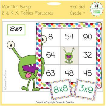 Times Tables Monster Multiplication Bingo: 8 & 9 x Forwards