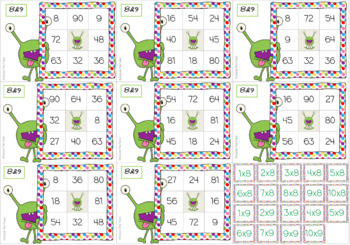 Times Tables Monster Multiplication Bingo BUNDLE: 1-10 x Forwards