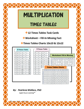 Times Tables & Multiplication Facts: Charts, Task Cards, W