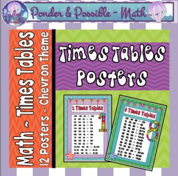 Times Tables Posters ~ Chevron Theme