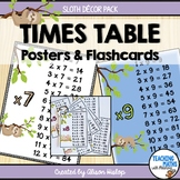Times Tables Posters Sloth Decor Set