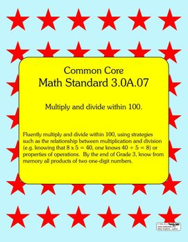 Times Tables Practice - Common Core Aligned Math 3.0A.07