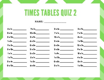 Times Tables Quiz Pack (0's through 5's)