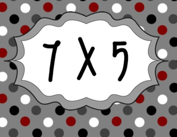 Times Tables - Spots - 2x - 5x Flash Cards