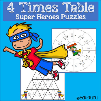 Times Tables Super Heroes Puzzles Four Times Table
