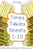 Times Tables or Multiplication Practice Sheets