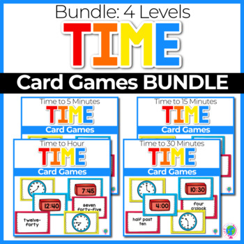 Time to the hour, half hour, fifteen and five minutes 5 Card Games BUNDLE