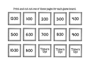 Time's Up!  A Game to Practice Telling Time!