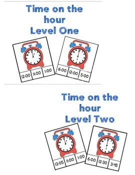 Time's Up! Clothespin/Clip Cards for telling time from hour to 5 minutes