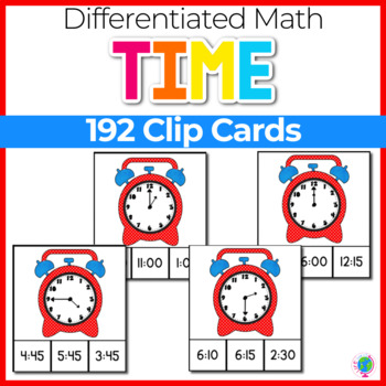 Time Clip Cards |Telling Time from hour to 5 minutes | Math Centers