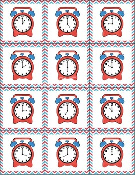 Time's Up! Memory/Match It! Cards for telling time from hour to 5 minutes