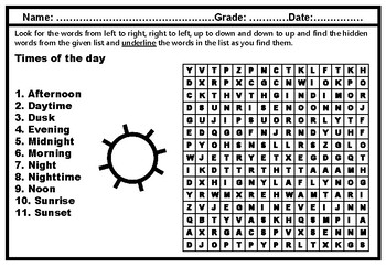 Times of the day, Word Search Puzzle Worksheet