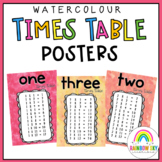 Times table Posters - Multiplication Posters {Watercolor theme}