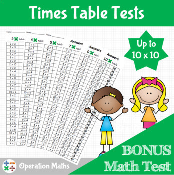 Times Table Tests up to 10 x 10 & BONUS Math Test