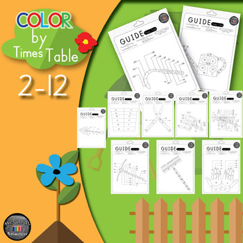 Times tables - Color By Number - Gardening Set