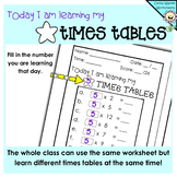 Times tables Drills / Multiplication Daily Test / Any Number / Answers Included