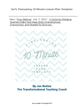 Timesaving Ten Minute Lesson Plan Template!