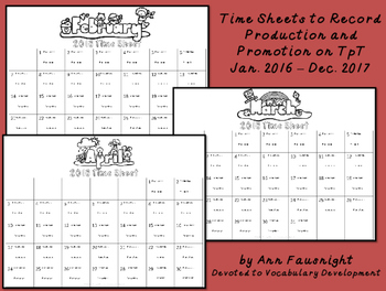 Timesheets for TpT Production and Promotion