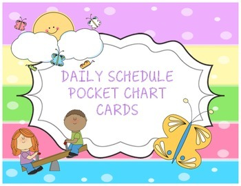 Timetable Pocket Chart Schedule Cards - Striped