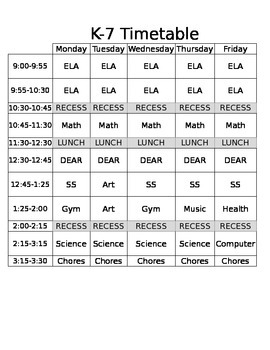 Timetable Template