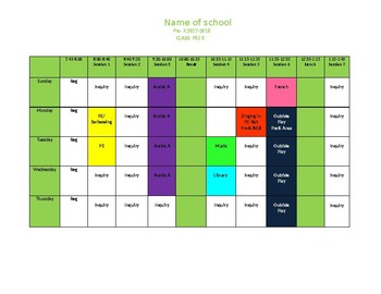 Timetable for the Early Years