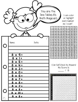 Multiplication facts Using Hundreds Chart
