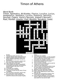 Timon of Athens Crossword