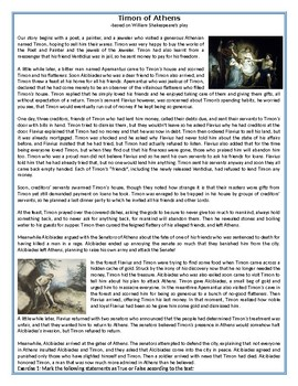 Timon of Athens - The Story - Reading Comprehension
