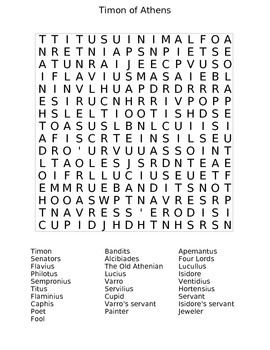 Timon of Athens Wordsearch
