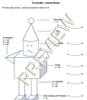 Tin Can Man - Volume of Composite Figures