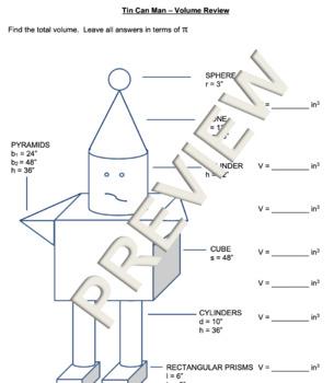 tin can man volume of composite figures - Volume Of Composite Figures Worksheet