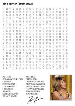 Tina Turner Word Search