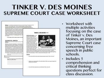 Tinker v  Des Moines Supreme Court Case worksheet - US History/APUSH